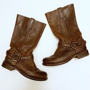 FRYE Jenna Belted Harness Leather Moto Boot Size 8
